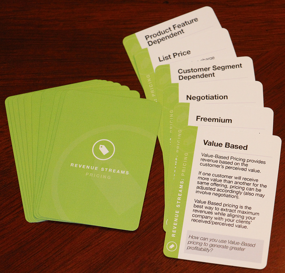 Revenue Streams: Pricing card deck - one of three decks used for the Revenue Streams area.